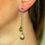 SterlingSilver Double Drop Chain Pearl Earring