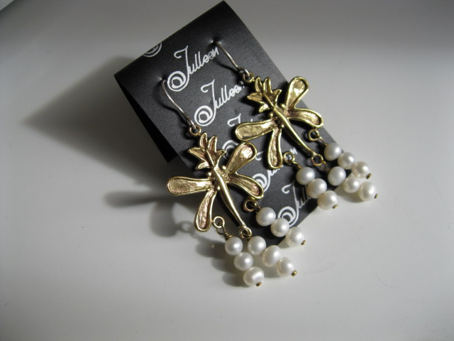 Julleen Dragon Fly Pearl Earrings