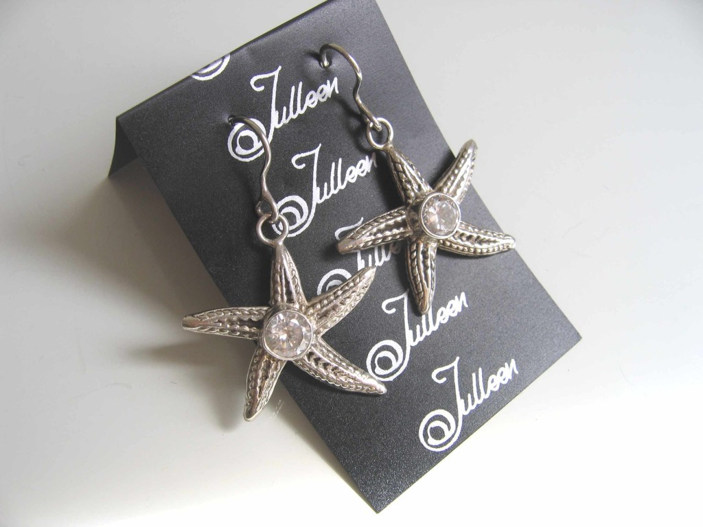 Star Fish Earring with CZ in Sterling Silver