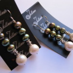 Green and White Pearl Drop Earring