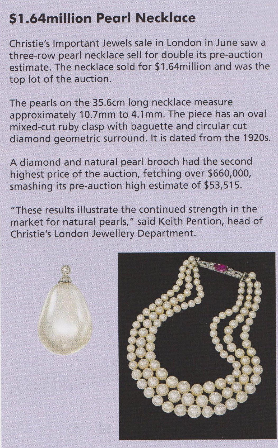 Christie's of London Jewel sale in June fetched 1.64 M for a pearl necklace