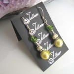 Lime Pearl Green Earrings