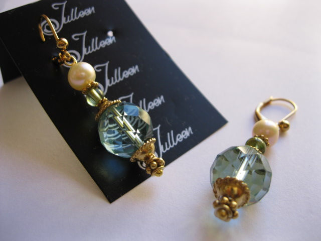 Bright Colour Gemstone and Pearl Earrings