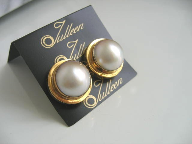 Coco Gold Set Mabe Clip On Earrings by Julleen Jewels