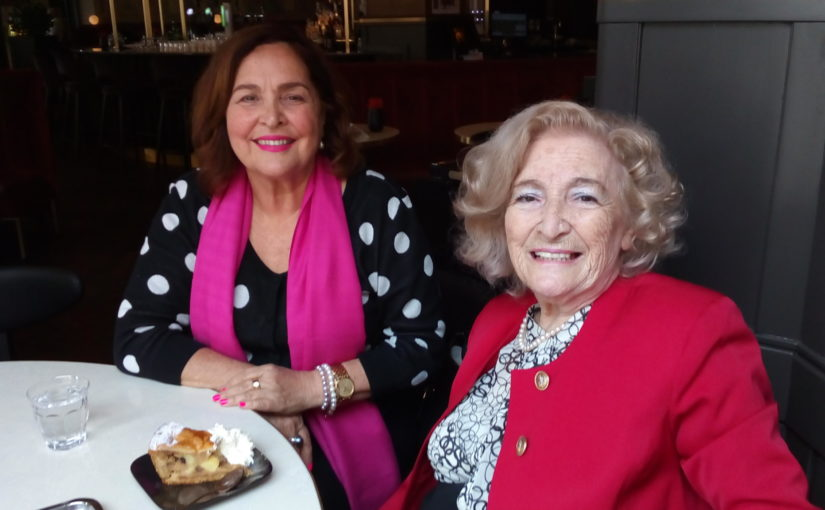 Two Ladies in Pink wearing pearls in Amsterdam