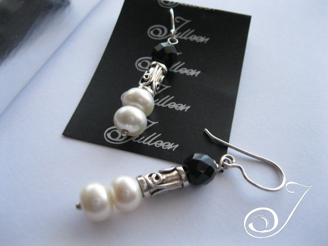Black and White Pearl Earrings in Sterling Silver