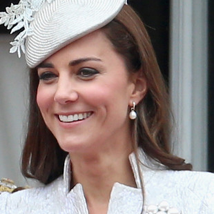 Kate Duchess of Cambridge Often Wears a White Drop Pearl Gold Hoop Earring