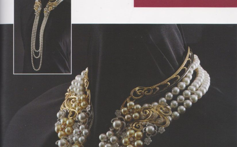 Pearl Collar with Long Triple Strand Cascades an Award Winning Design
