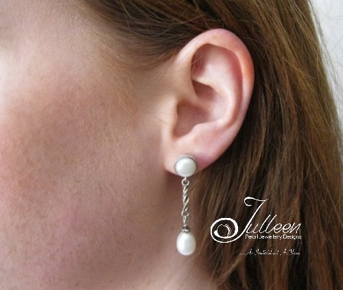 9 Stylish Julleen Pearl on Chain Earrings in Sterling Silver