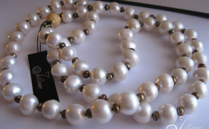 Cocktail Length White and Bronze Pearl Necklace with Gold Vermeil