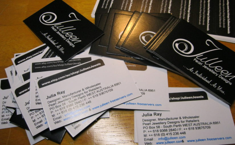 Julleen Jewels Esty Store Stickers on Business Cards, Makes all the difference