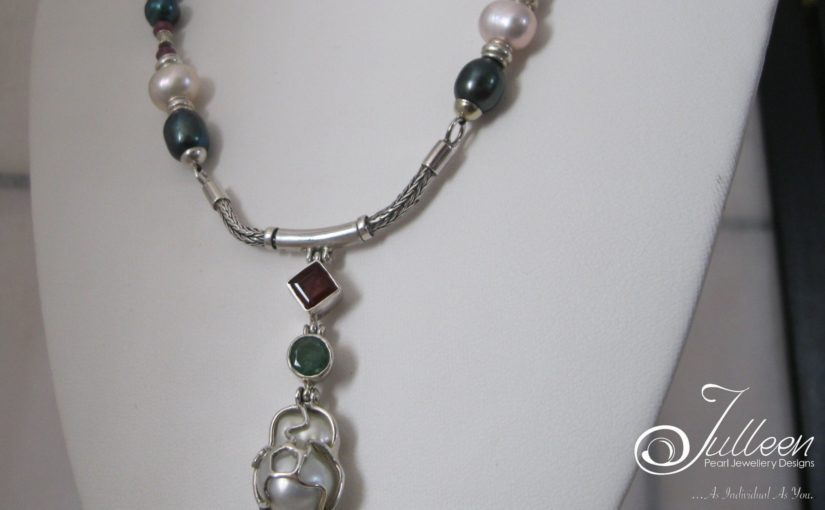 Broom Pearl Emerald and Ruby Necklace by Julleen Jewels