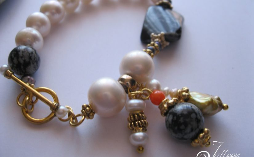 White Pearl Bracelets with Gemstone Dangle Charms