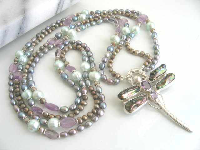 Long Pearl Necklace with Dragon Fly