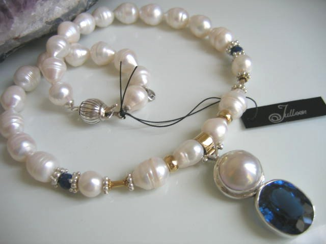 Blue Topaz and Pearl Necklace