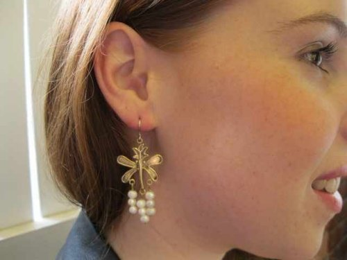 Long Dangle Dragon Fly Pearl Earrings