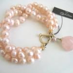 Rose Quartz and Pearl Charm Bracelet