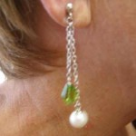 Double Swing Pearl and Green Quartz Earring on Model
