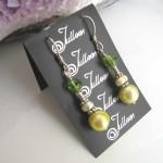 Lime Pearl Green Earrings