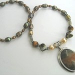 Water Agate in Autumn tones with pearls