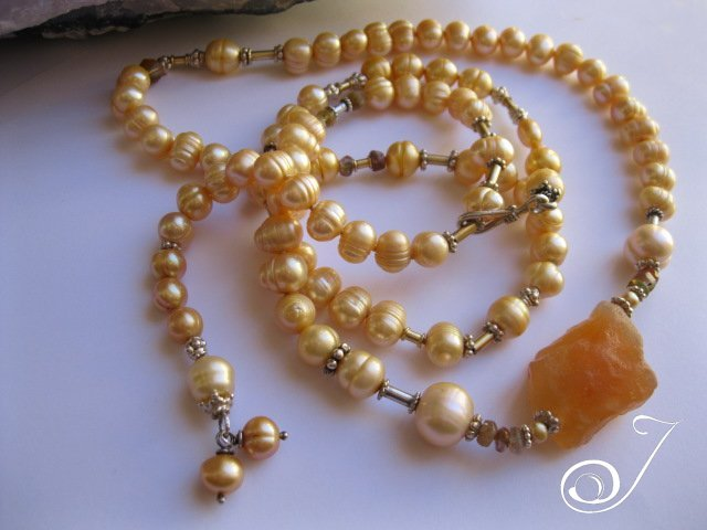 Gold Pearl and Carnelian Necklace with Tourmaline