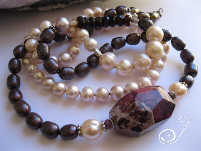 Grape and Pink Pearl Necklace for the Christmas Season
