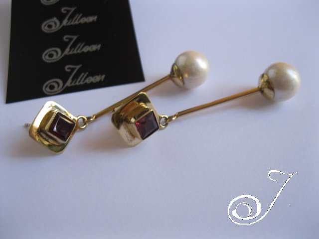 A Red Garnet and Pearl Earring by Julleen Jewels