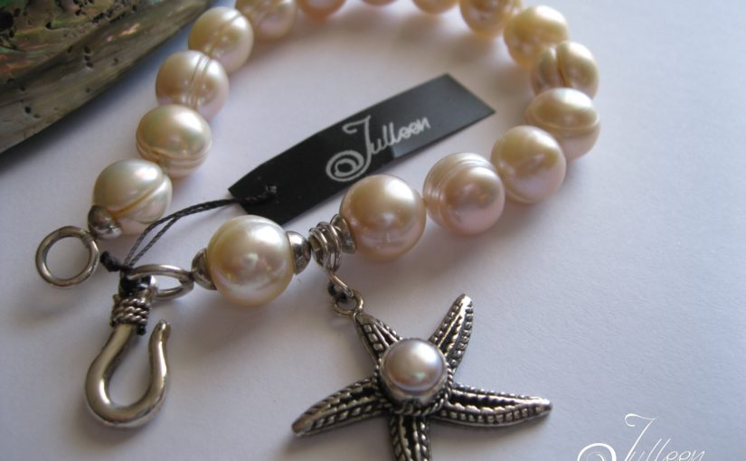 Pretty Pink Star Fish Pearl Bracelet in Sterling Silver