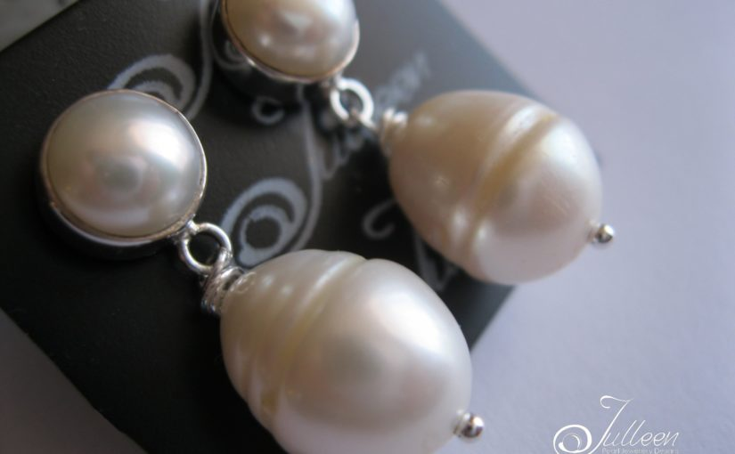 Rare Double White Pearl Earring