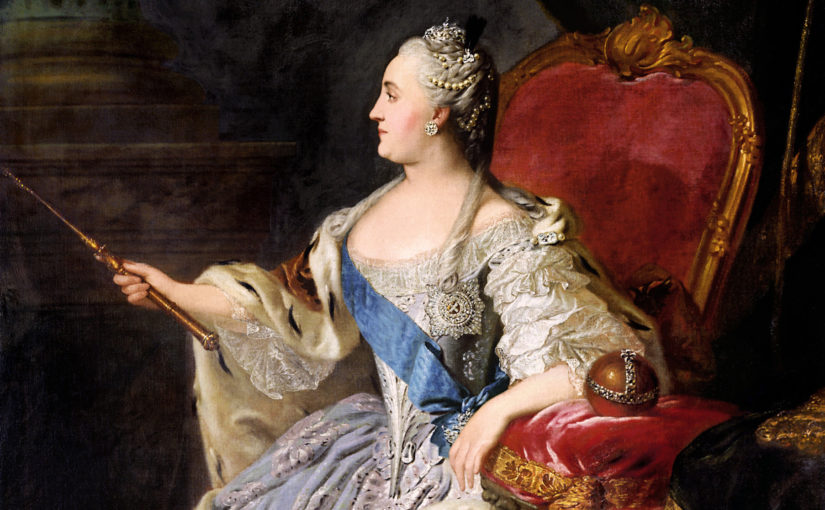 A Portrait of Catherine The Great With her Hair adorned with Pearls