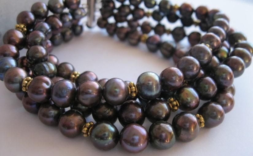 Black Pearl Cuff Bracelet Gold Vermeil as an 87th birthday present.