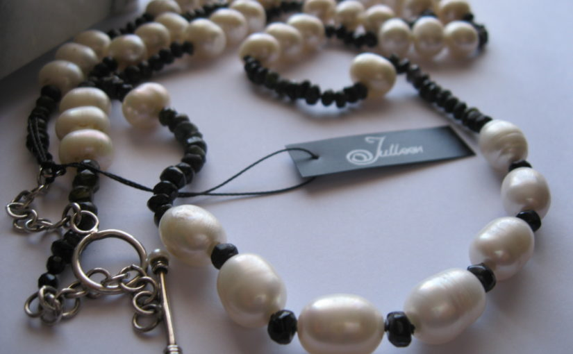 Black Tourmaline and White Pearl Necklace by Julleen