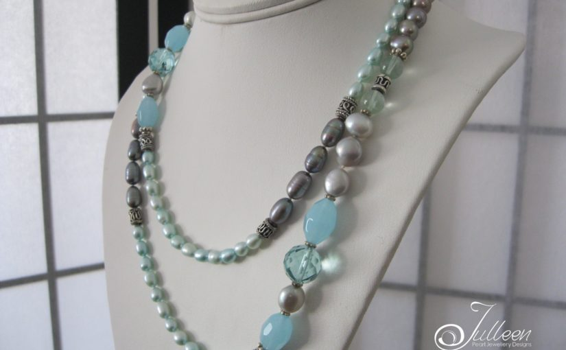 Aqua Blue Chalcedony and Pearl Necklace